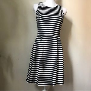 LOFT Navy/white Striped Sleeveless Cotton Dress